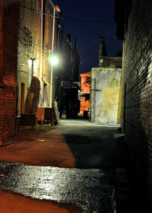Night Scenes Greeting Card featuring the photograph No Alley Cats Tonight by Jan Amiss Photography