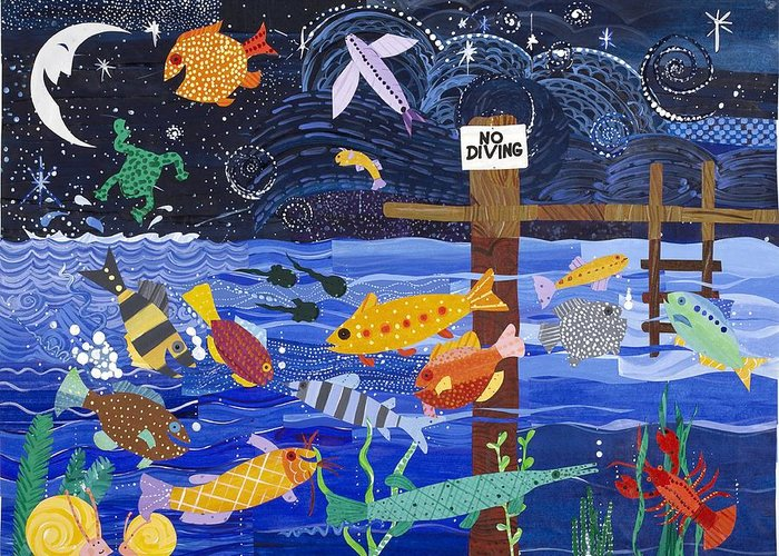 Joyful Greeting Card featuring the painting No Diving by Barbara Esposito