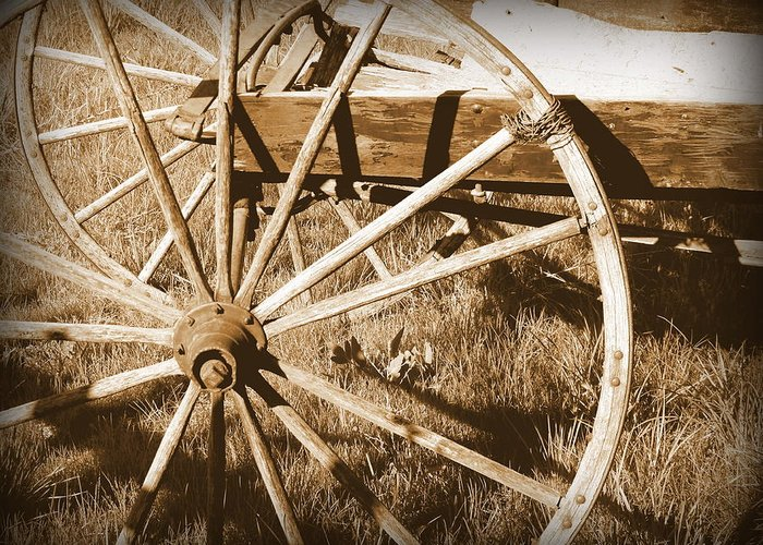 Cindy Greeting Card featuring the photograph No Gas Needed Buggy Wheels by Cindy Wright