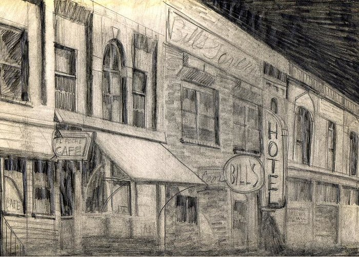Nostalgia Greeting Card featuring the drawing Noir Street by Mel Thompson