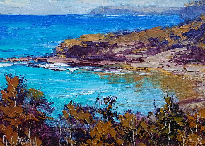 Seascape Greeting Card featuring the painting Norah Head Central Coast Nsw by Graham Gercken