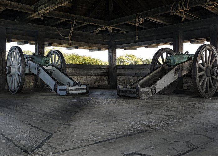 Old Fort Niagara Greeting Card featuring the photograph North Redoubt Cannons by Peter Chilelli