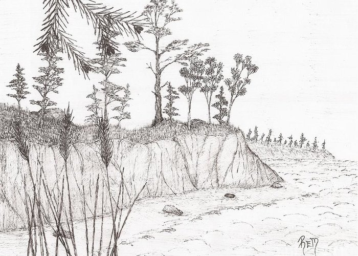 Pen And Ink Greeting Card featuring the drawing North Shore Memory... - Sketch by Robert Meszaros