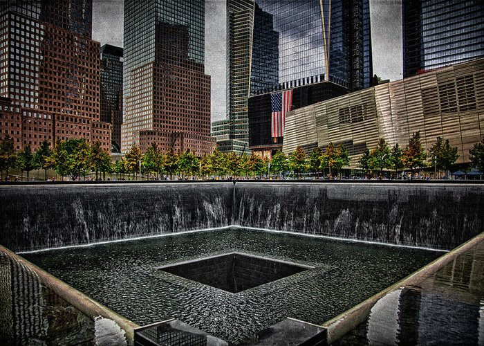 Memorial Greeting Card featuring the photograph North Tower Memorial by Chris Lord