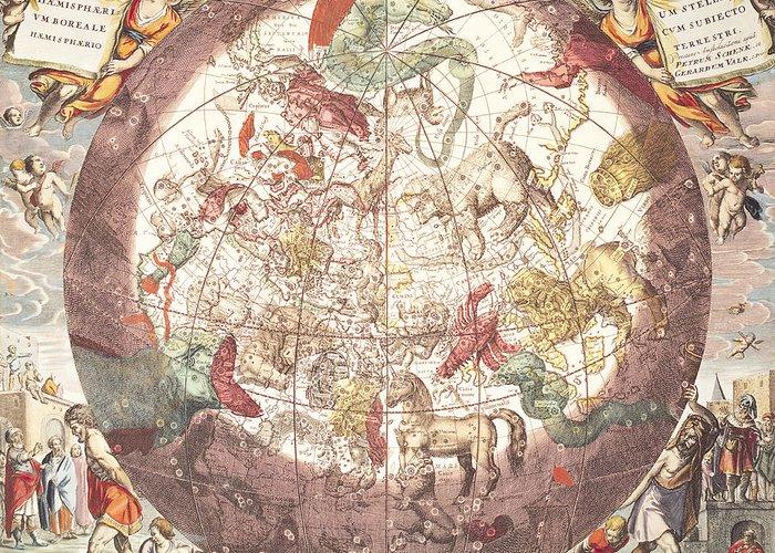 Northern (boreal) Hemisphere Greeting Card featuring the drawing Northern Boreal Hemisphere From The Celestial Atlas by Pieter Schenk