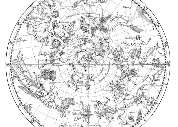 Star Greeting Card featuring the photograph Northern Celestial Map by Science, Industry & Business Librarynew York Public Library
