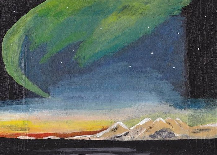 Northern Lights Greeting Card featuring the painting Northern Lights 2 by Audrey Pollitt