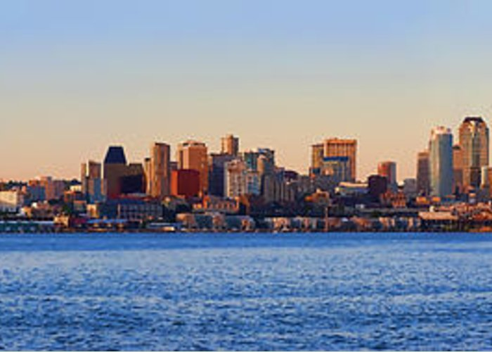 Digital Photo Art Greeting Card featuring the photograph Northwest Jewel - Seattle Skyline Cityscape by James Heckt