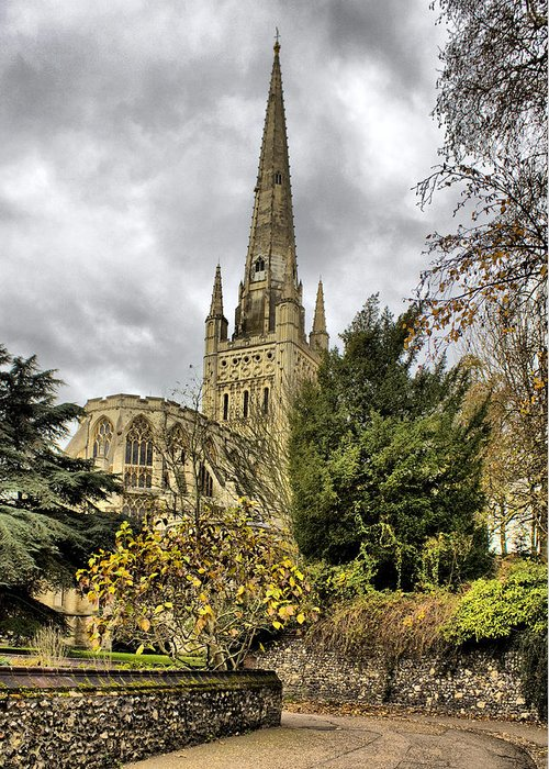 Norwich Cathedral Greeting Card featuring the photograph Norwich Cathedral England by Darren Burroughs