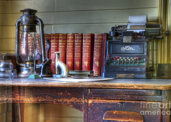 Nostalgia Greeting Card featuring the photograph Nostalgia Office by Bob Christopher
