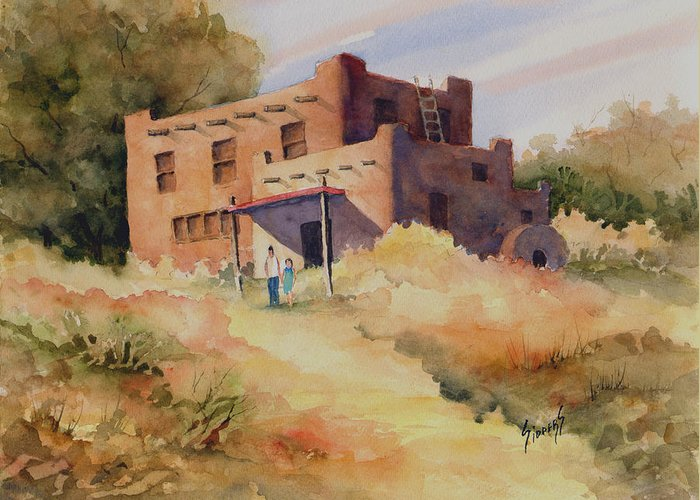 New Mexico Greeting Card featuring the painting Not Far From Espanola by Sam Sidders