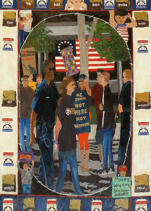 Sb 1070 Greeting Card featuring the painting Not Here Not Anywhere by Brent Harris