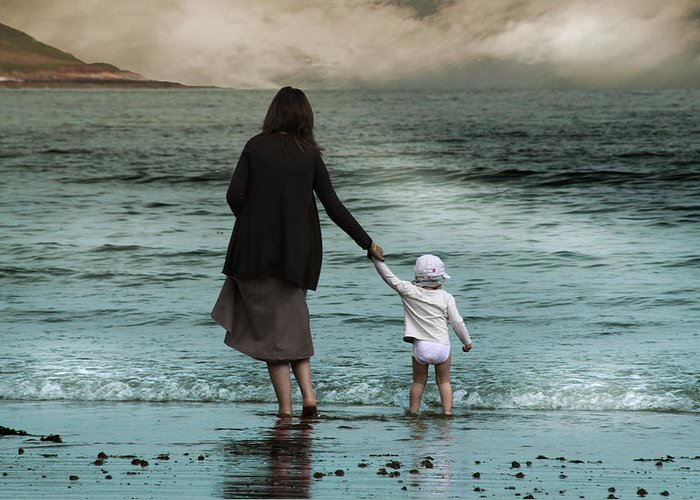 Woman Greeting Card featuring the photograph Nothing Is Too Big With A Hand To Hold by Julie L Hoddinott