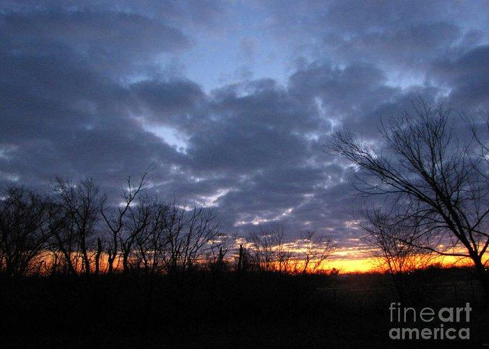 Landscape Greeting Card featuring the photograph November Sunrise by Cedric Hampton