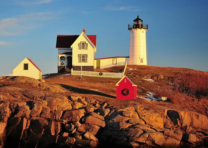 Cape Neddick Lighthouse Greeting Card featuring the photograph Nubble Light Sunset by Catherine Reusch Daley