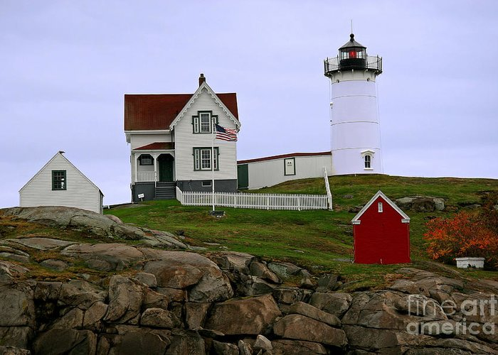 Nubble Light Greeting Card featuring the photograph Nubble Lighthouse by Brenda Giasson