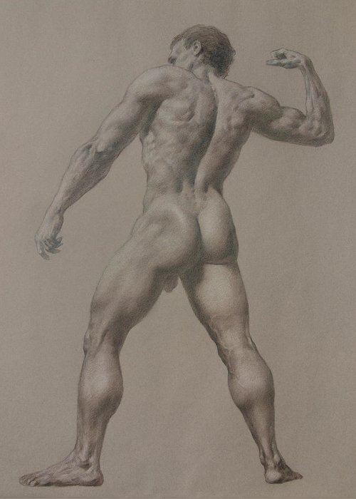 Man Greeting Card featuring the drawing Nude-8 by Valeriy Mavlo