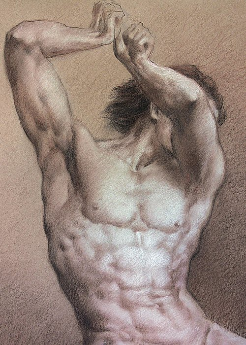 Man Greeting Card featuring the drawing Nude 9 A by Valeriy Mavlo