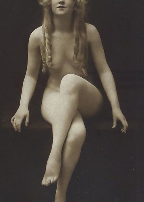 Girl Woman Female Nude Nakes Erotic Sexy Beauty Long Hair Sitting Vintage Sw Bw Black White Photograph Legs Breast Boobs Greeting Card featuring the pyrography Nude Girl 1915 by Steve K