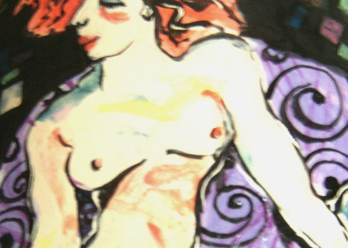 Art Greeting Card featuring the ceramic art Nude Redhead by Patricia Lazar