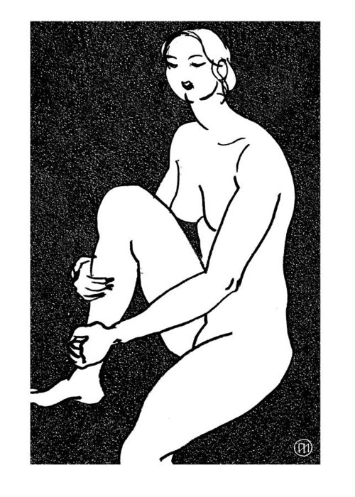 Nude Greeting Card featuring the drawing Nude Sketch 16 by Leonid Petrushin