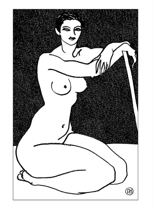 Nude Greeting Card featuring the drawing Nude Sketch 29 by Leonid Petrushin