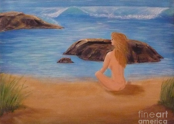Nude Greeting Card featuring the painting Nude Woman On Beach by Monika Shepherdson