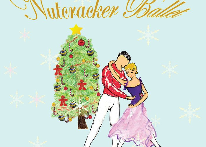 Nutcracker Ballet Greeting Card featuring the mixed media Nutcracker Ballet Romance by Marie Loh