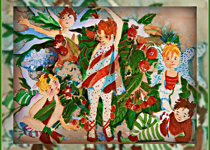 Nutcracker Greeting Card featuring the painting Nutcracking Sugar Plums by Mindy Newman