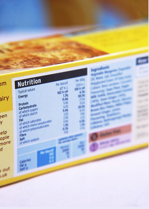 Food Greeting Card featuring the photograph Nutrition Label by Veronique Leplat