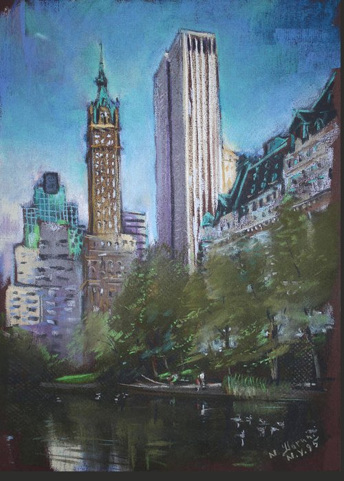 Ny City Greeting Card featuring the pastel Nyc Central Park 2 by Ylli Haruni