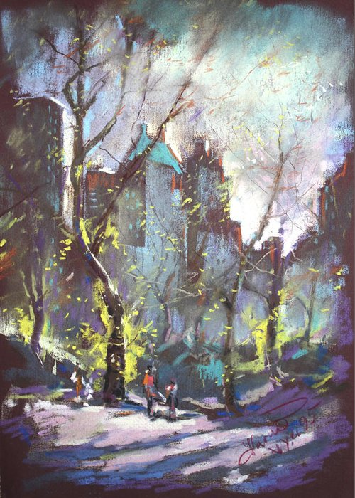 Ny City Greeting Card featuring the pastel Nyc Central Park Controluce by Ylli Haruni