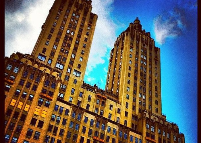 Building Greeting Card featuring the photograph #nyc #clouds #centralpark #sky #building by Luke Kingma