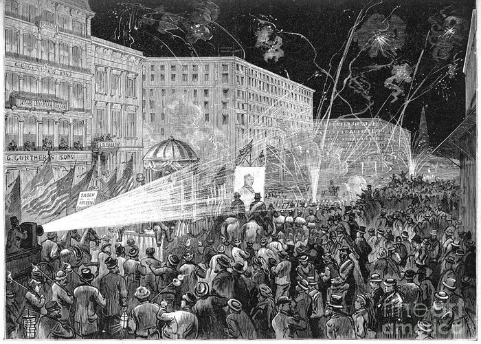 1876 Greeting Card featuring the photograph Nyc: Democrat Parade, 1876 by Granger