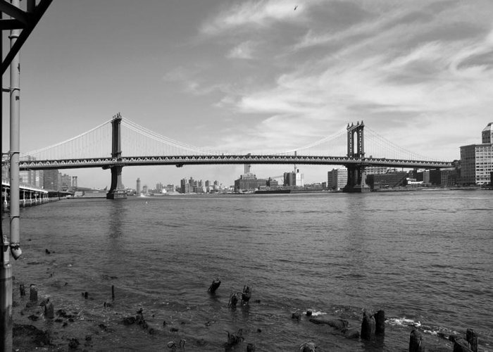 Bridge Greeting Card featuring the photograph Nyc Manhattan Bridge by Mike McGlothlen