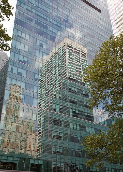 Greeting Card featuring the photograph Nyc Reflection 1 by Art Ferrier