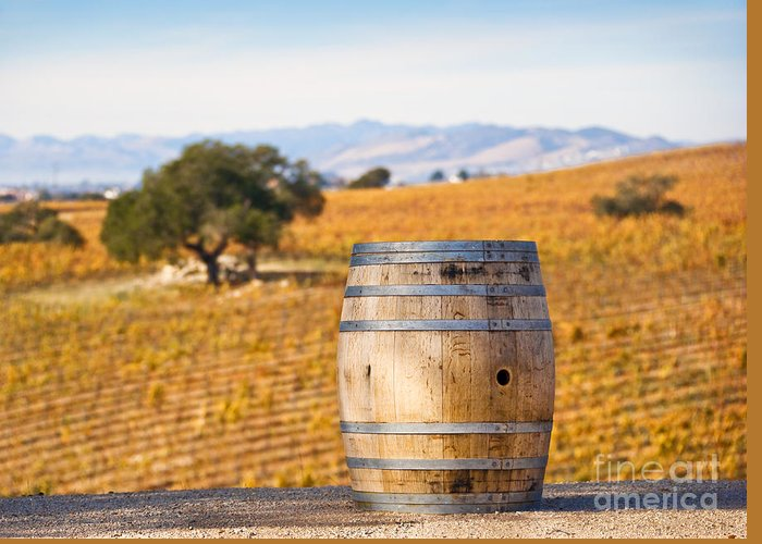 Agriculture Greeting Card featuring the photograph Oak Barrel At Vineyard by David Buffington