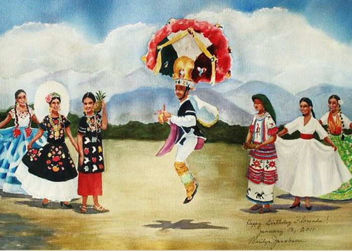Mexico Greeting Card featuring the painting Oaxaca Dancers by Marilyn Jacobson