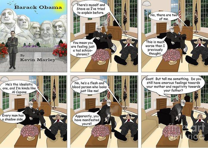 Barack Obama Greeting Card featuring the digital art Obama N Freud I by Kevin Marley