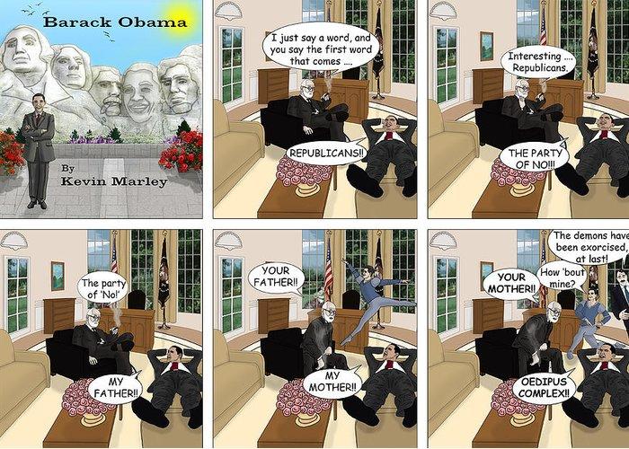 Barack Obama Greeting Card featuring the digital art Obama N Freud II by Kevin Marley