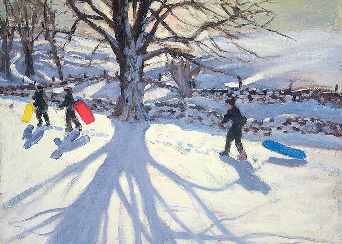Toboggan Greeting Card featuring the painting obogganers near Youlegrave by Andrew Macara