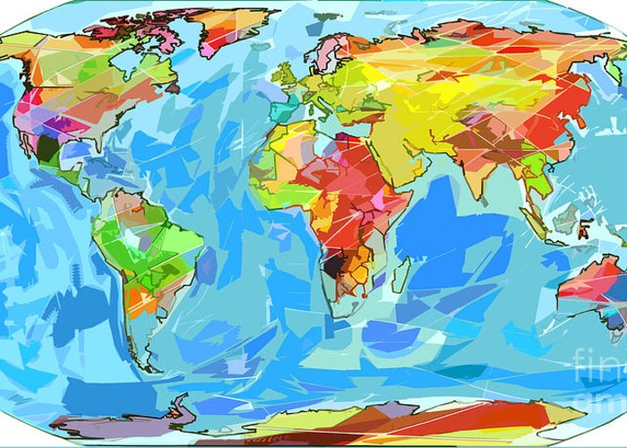 World Map With Currents.Ocean Currents World Map Greeting Card For Sale By David Lloyd Glover