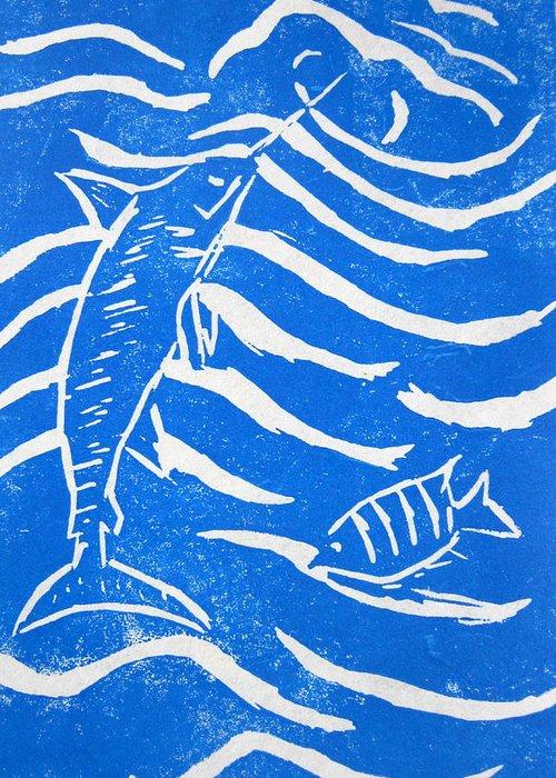 Linocut Greeting Card featuring the painting Ocean Fun by Marita McVeigh