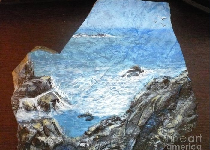 Rock Greeting Card featuring the painting Ocean by Monika Shepherdson