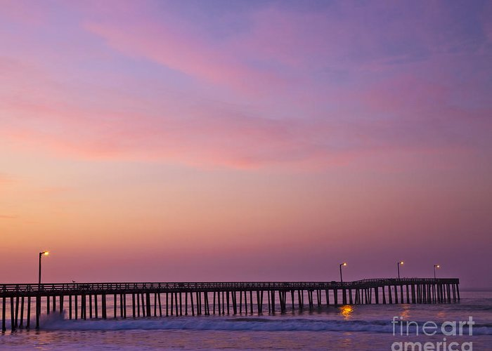 At Night Greeting Card featuring the photograph Ocean Pier At Dawn by David Buffington