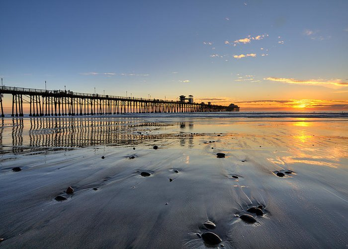 California Greeting Card featuring the photograph Oceanside Pier by Peter Tellone