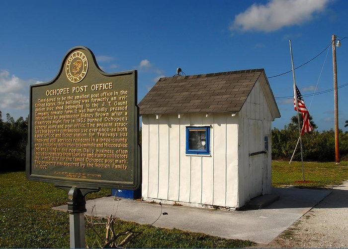 Ochopee Florida Greeting Card featuring the photograph Ochopee Post Office by David Lee Thompson