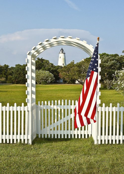 Ocracoke Greeting Card featuring the photograph Ocracoke Lighthouse July 4th by Bill Swindaman