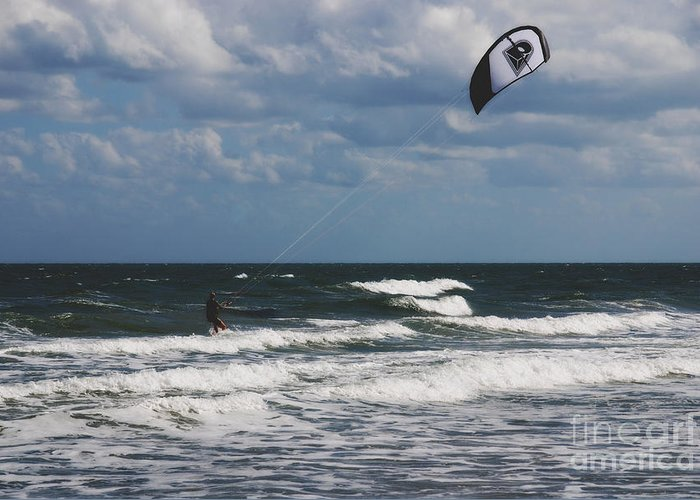 October Greeting Card featuring the photograph October Beach Kite Surfer by Susanne Van Hulst