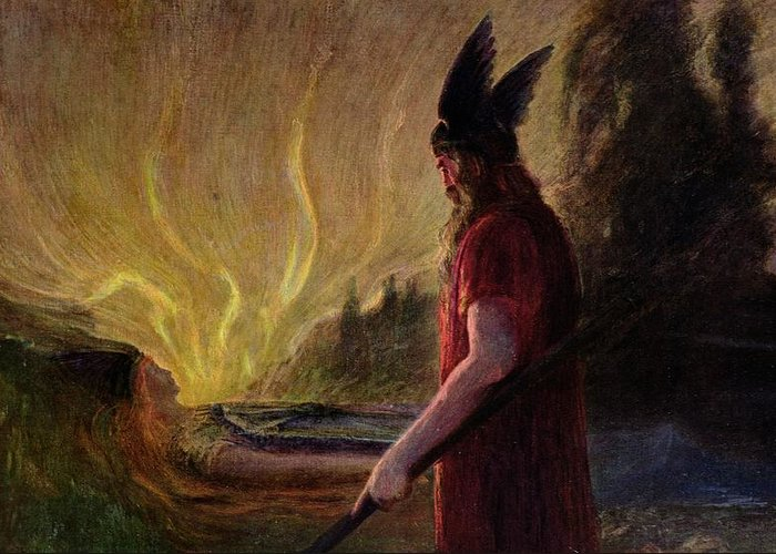 As The Flames Rise Greeting Card featuring the painting Odin Leaves As The Flames Rise by H Hendrich
